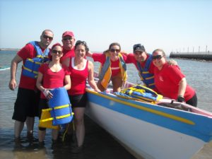 Azorean Maritime Heritage Society members at a regatta in New Bedford