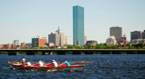 Azorean Maritime Heritage Society rowing in an event in Boston