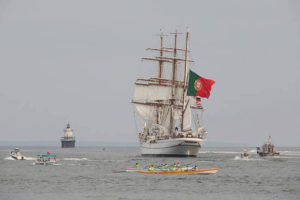 Azorean Maritime Heritage Society rowing with tall ship Sagres in New Bedford