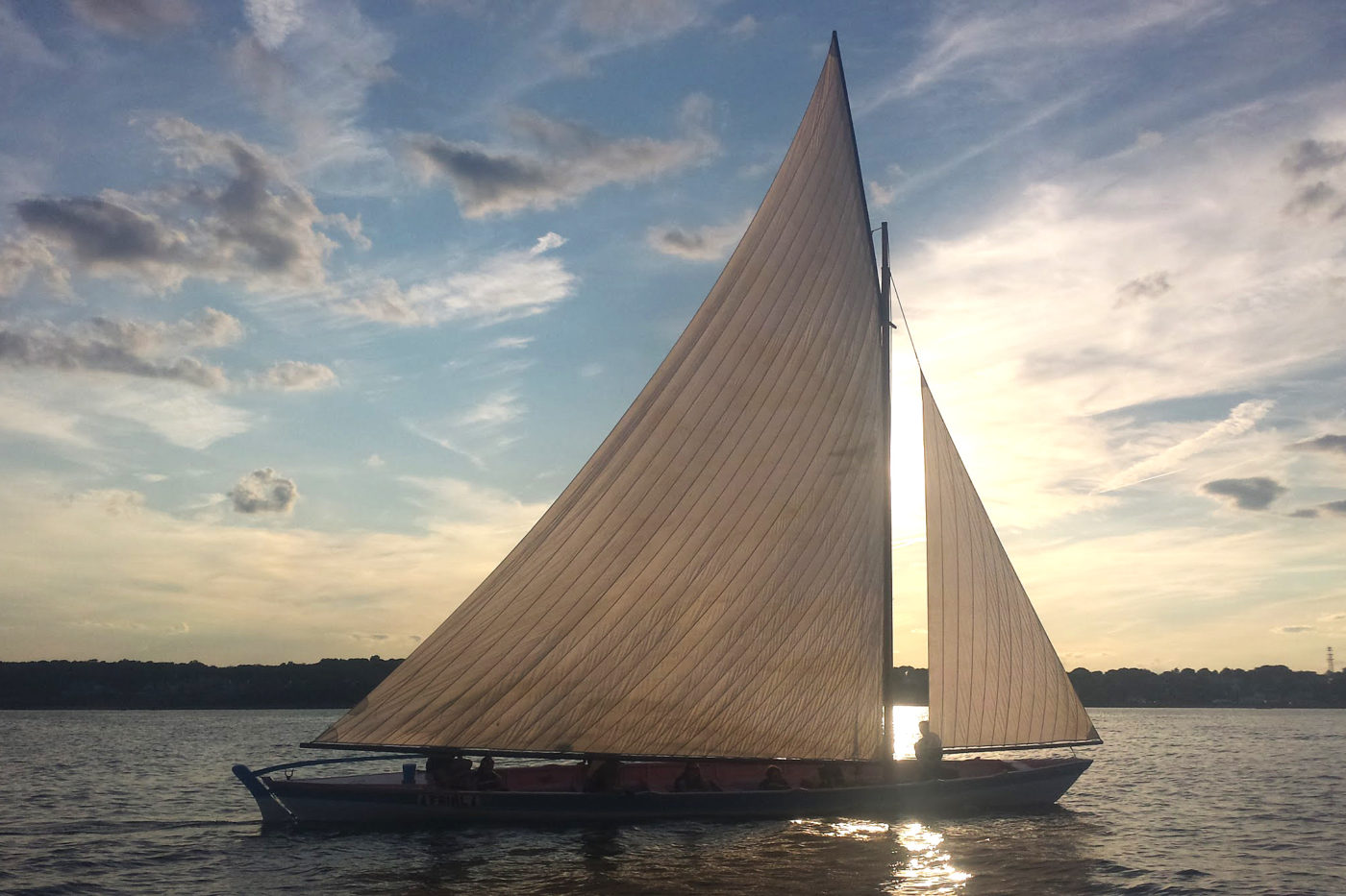 Azorean whaleboat in Clarks Cove in New Bedford, Massachusetts