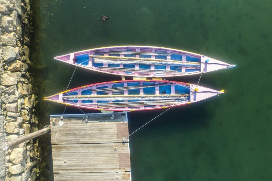 aerial view of Azorean whaleboats in Clarks Cove