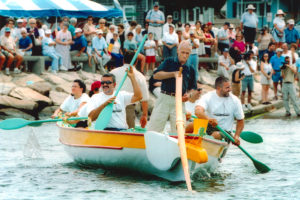 Azorean whaleboats Faial and Pico launching in New Bedford in 2000