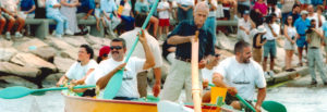 Azorean Maritime Heritage Society members rowing an authentic Azorean whaleboat in the late 1990s