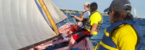 sailing an Azorean whaleboat in New Bedford, Massachusetts