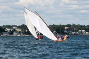 Azorean whaleboats sailing in New Bedford