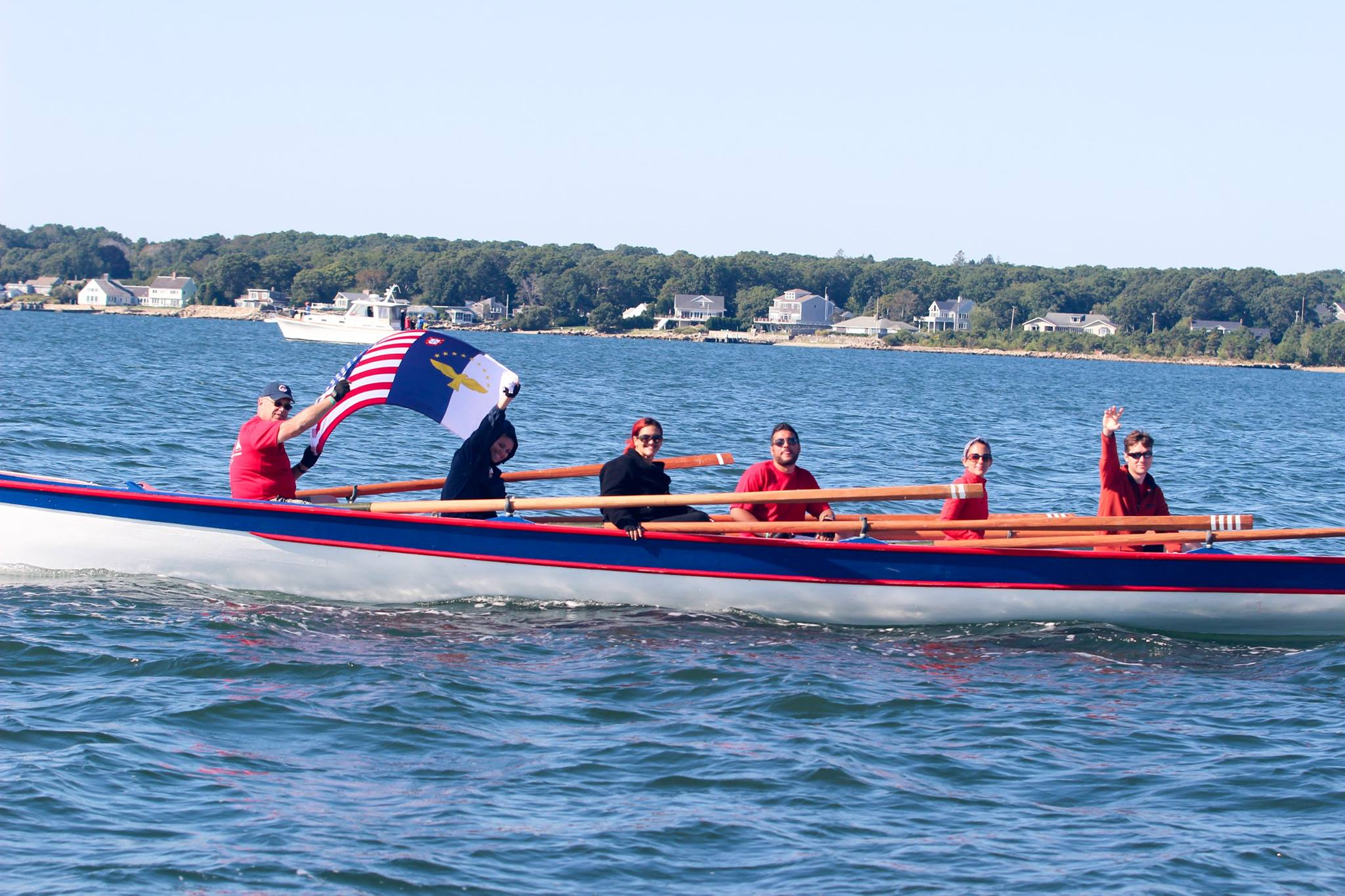 Azorean whaleboats rowing in New Bedford